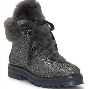 NWT Jessica Simpson Norina Combat Fur Boots